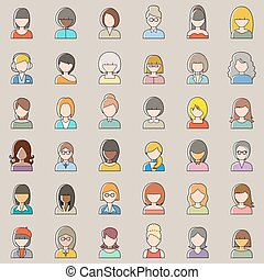Set of outline people icons. Women.