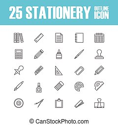outline stationery icon - set of outline stationery icon