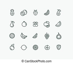 Set of Outline stroke Fruit icon