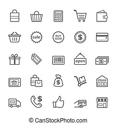 Set of Outline stroke Shopping icons
