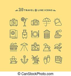 Set of Outline Travel Icons
