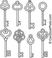 Chalk Sketched Antique Skeleton Keys On Chalkboard Clipart