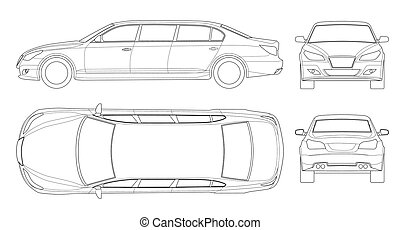 Set of outline white limousines isolated on white. Template limousine icon vector. Premium people transportation. Viev , front, rear, side