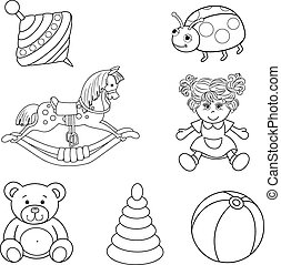 Set of outlined baby's toys