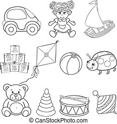 Set of outlined baby's toys element