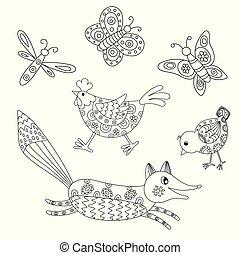 Set of outlined hand drawn animals: fox, hend, chicken,...