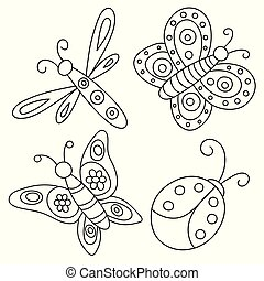Set of outlined hand drawn butterflies, ladybug and dragonfly