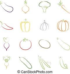 Set of outlines of vegetables, vector illustration