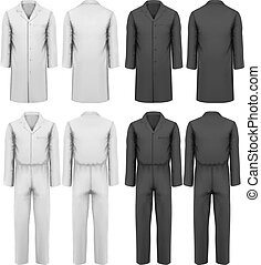 Set of overalls with worker. Design template. Vector...