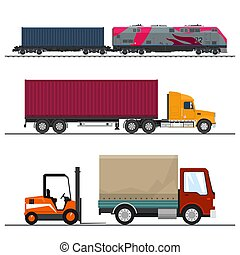 Set of Overland Freight Transport, Delivery Trucks and...