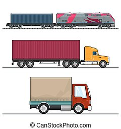 Set of Overland Freight Transport, Delivery Trucks,...