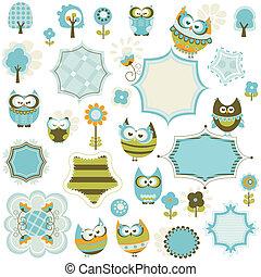 owls and frames - set of owls and frames