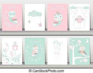 Set of owls cartoons designs