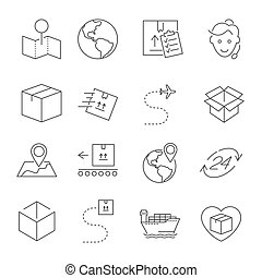 Set of Package Delivery Related Vector Line Icons. Editable Stroke