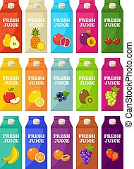 Set of packages of fruit juice