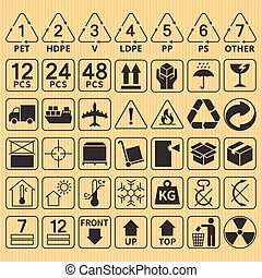 Set of packaging symbol collection, fragile, handle with ...
