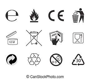 Set of Packaging Symbols. - Flat style vector icon. Handbook...