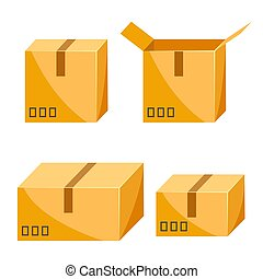 Set of packing boxes. Delivery open and closed packages...