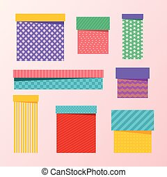 set of packing boxes - Set of multicolored, colourful...