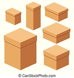 set of packing boxes - Set of packing craft boxes. Flat...