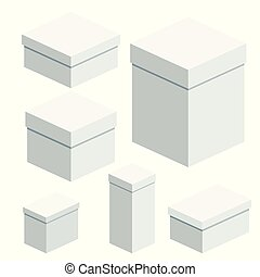 set of packing boxes - Set of packing white boxes. Flat...