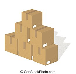 Set of Packing boxes with texture, 3D isometric