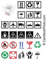 Vector illustration set of different packing symbols, e.g. fragile, recycle symbol. All vector objects and details are isolated and grouped. Colors and transparent background are easy to adjust.
