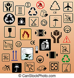 Vector set with the image of symbols on packing
