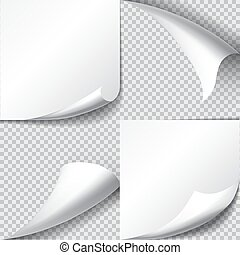 Set of page curls with shadow on transparent background.