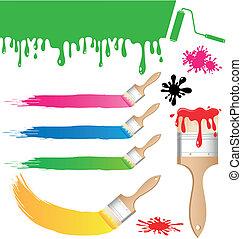 Set of Paint brush vector on white background
