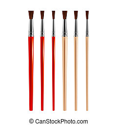 Set of paint brushes isolated on white background. Vector.