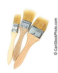 Set of paint brushes isolated on white background