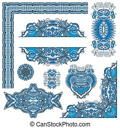set of paisley floral design elements for page decoration, frame