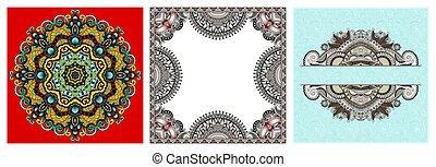 set of paisley floral design elements for page decoration, frame, corner, divider, circle snowflake