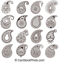 set of paisley on white background