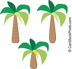Set of palm trees in simple flat style