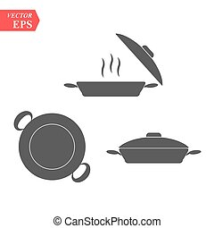 Set of pan icon. Simple filled pan vector icon. On white background.