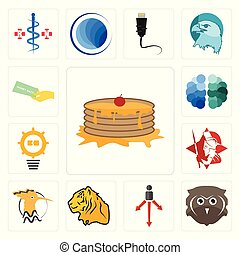 Set of pancake, free owl, approach, tiger, hoopoe, spartan, problem management, brain, money back guarantee icons