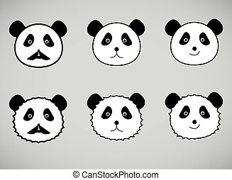 Set of panda face icons.