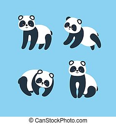 Set of pandas. Vector illustration in flat style
