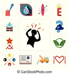 Set of panic, appetite, tow truck, online form, snooker, eco club, communism, scratching head, water resistant icons