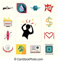 Set of panic, sem, online form, pine cone, pirate, appetite, kayak, double s, breaking news icons