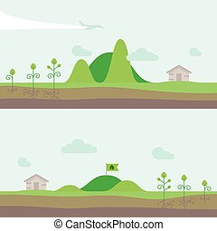 Set of panorama natural landscape with hills, garden and house village. Vector illustration in flat style.