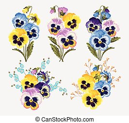 Set of pansy bouquets