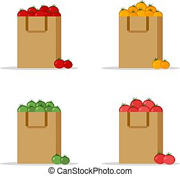 Set of paper bag, package with fresh red, yellow, green and pink tomatoes on a white background. Flat design colored vector illustration