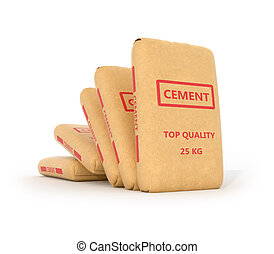 Set of paper bags of cement on a white background.3D...