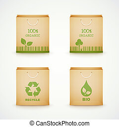 set of paper bags on white background