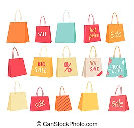 Set of Paper Bags with Text Sale, Percentage Price