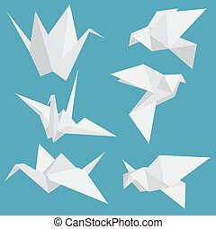 Set of paper cranes origami birds isolated. Vector illustration.