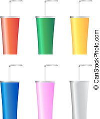 Set of paper cups isolated on a white background. Vector illustration